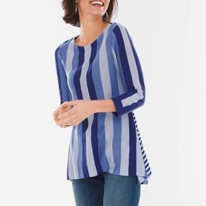 NWT Chico's Mixed-Stripe Pullover Sweater Top
